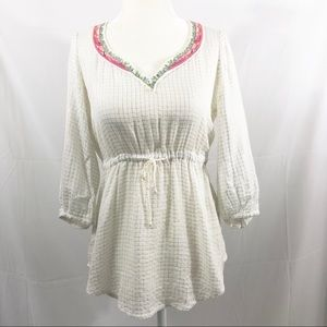 Free People Embroidered Boho Peasant Tunic Top XS